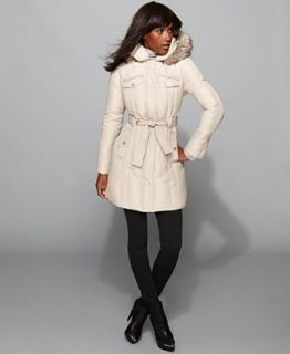 Kenneth Cole Reaction Coat, Faux Fur Trim Hood Belted Down   Coats   Women