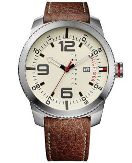Tommy Hilfiger Mens Brown Leather Strap Watch 50mm 1791013   Watches   Jewelry & Watches