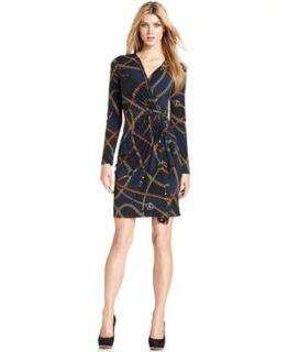 MICHAEL Michael Kors Long Sleeve Printed Faux Wrap Dress   Dresses   Women