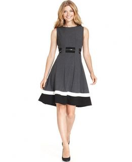 Calvin Klein Sleeveless Belted Striped Dress   Dresses   Women