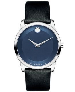 Movado Mens Swiss Museum Classic Black Calfskin Leather Strap Watch 40mm 0606610   Watches   Jewelry & Watches