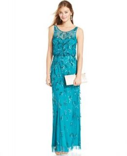 Adrianna Papell Embellished Floral Blouson Gown   Dresses   Women