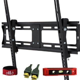 "OLLO MOUNTS 32 55 inches Tilt / Tilting Low Profile Universal TV Wall Mount Bracket * 1.4V HDMI / ETHERNET CABLE * 6"" TORPEDO LEVEL * VELCRO CABLE TIE * LCD, LED, Plasma (TH64037 3) Electronics"