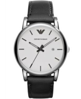 Emporio Armani Watch, Mens Chronograph Black Croco Leather Strap 46mm AR1615   Watches   Jewelry & Watches