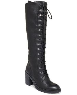 Nine West Lory Tall Lace Up Combat Boots   Shoes