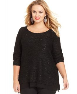 Alfani Plus Size Long Sleeve Sequin Sweater   Sweaters   Plus Sizes