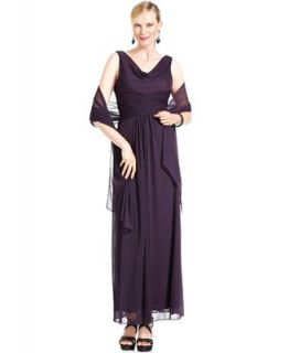 Alex Evenings Dress, Sleeveless Crisscross Pleat Gown   Dresses   Women