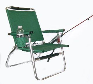 "The Original ""FISH MASTER"" Ultra Light Adjustable All Aluminum Fishing Chair with Reversible Rod Holder and Cup Holder with Storage Pouch (Hunter Green)  Camping Chairs  Sports & Outdoors"