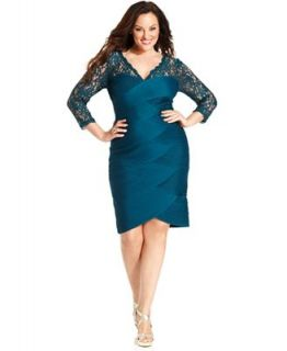 Adrianna Papell Plus Size Dress, Three Quarter Sleeve Lace Tiered Sheath   Dresses   Plus Sizes
