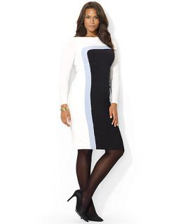 Lauren Ralph Lauren Plus Size Long Sleeve Colorblocked Dress   Dresses   Plus Sizes