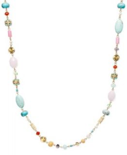 Lauren Ralph Lauren Gold Tone Multi Color Bead Necklace   Fashion Jewelry   Jewelry & Watches