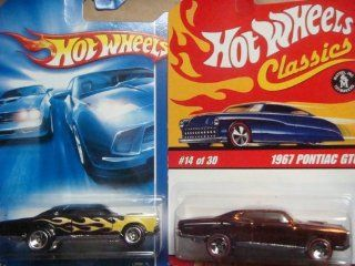 Hot Wheels '67 Pontiac GTO Variant Set Classics Series 2 Brown Flake Red Line #14 & The '07 All Stars Black With Flames #137 {2 Pieces} Scale 1/64 Collector Toys & Games