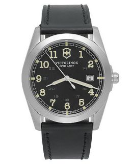 Victorinox Swiss Army Watch, Mens Infantry Black Leather Strap 40mm 241584   Watches   Jewelry & Watches
