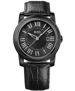Hugo Boss Watch, Mens Black Leather Strap 40mm 1512715   Watches   Jewelry & Watches