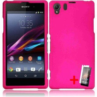 SONY XPERIA Z1 HOT PINK RUBBERIZED COVER SNAP ON HARD CASE + FREE SCREEN PROTECTOR from [ACCESSORY ARENA] Cell Phones & Accessories