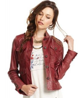 Lucky Brand Jeans Jacket, Long Sleeve Leather   Jackets & Blazers   Women