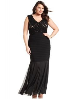 Betsy & Adam Plus Size Dress, Sleeveless Pleated Lace Gown   Dresses   Plus Sizes