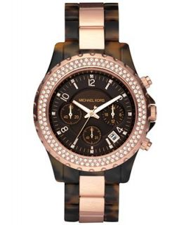 Michael Kors Womens Chronograph Madison Tortoise Acetate and Rose Gold Tone Bracelet Watch 42mm MK5416   Watches   Jewelry & Watches