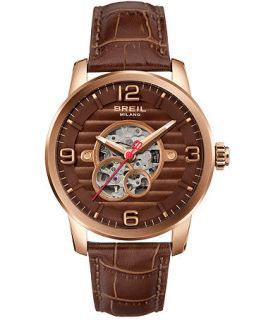 Breil Milano Mens Automatic Brown Leather Strap Watch 44mm TW1258   Watches   Jewelry & Watches