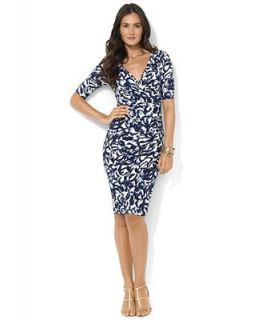 Lauren Ralph Lauren Dress, Three Quarter Sleeve Printed Empire Waist Jersey   Dresses   Women