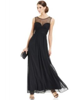 Xscape Sleeveless Metallic Lace Gown   Dresses   Women