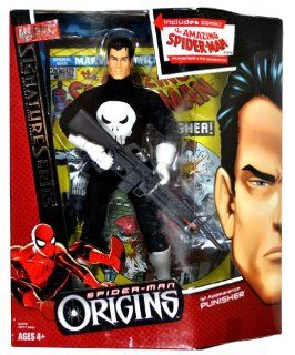 "Hasbro Year 2006 Marvel Spider Man Origins Signature Series Fully Poseable 9 Inch Tall Action Figure   1st Appearance PUNISHER with Assault Rifle Plus Bonus ""The Amazing Spider Man"" #129 Comics Toys & Games"