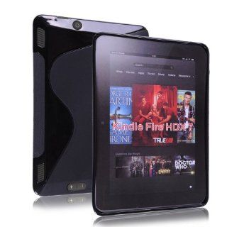 "Okeler Black S line Wave Soft TPU Gel Rubber Case Cover for  Kindle Fire HDX 7"" with Free Pen Electronics"