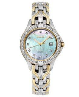 Seiko Watch, Womens Solar Excelsior Two Tone Stainless Steel Link Bracelet 27mm SUT084   Watches   Jewelry & Watches