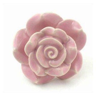 Pink Rose Ceramic Cabinet Knobs, Drawer Pulls & Handles Set/2 ~ K127 Hand Painted Vintage Ceramic Rose Knobs with Chrome Hardware for Dresser, Drawers, Kitchen Cabinets & Vanity   Cabinet And Furniture Knobs