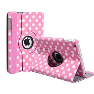 Hot Pink and White Polka Dot Pattern PU Leather Case For iPad 3 and iPad 2 With 360 Degrees Rotating Stand Computers & Accessories