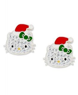 Hello Kitty Sterling Silver Earrings, Christmas Crystal Stud Earrings   Earrings   Jewelry & Watches