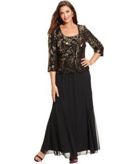 Alex Evenings Plus Size Dress and Jacket, Sleeveless Sequin Chiffon Gown   Dresses   Plus Sizes