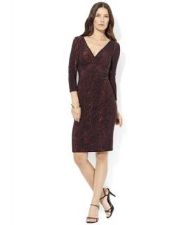 Lauren Ralph Lauren Dress, Three Quarter Sleeve Matter Jersey Animal Print   Dresses   Women