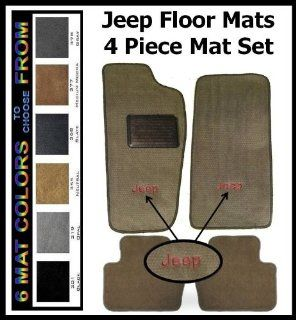 2007   2012 Jeep Wrangler Unlimited Floor Mats   4 Piece Mat Set (2 Piece Fronts & 2 Peice Rear Mats) with Jeep embroidered monogram & driver side heel pad ** 6 Mat Colors to Choose From Automotive