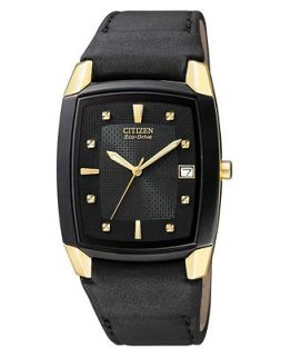 Citizen Mens Eco Drive Black Leather Strap Watch BM6574 09E   Watches   Jewelry & Watches