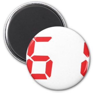 61 sixty one red alarm clock digital number fridge magnets