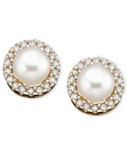 10k Gold Earrings, Cultured Freshwater Pearl and Diamond Accent   Earrings   Jewelry & Watches