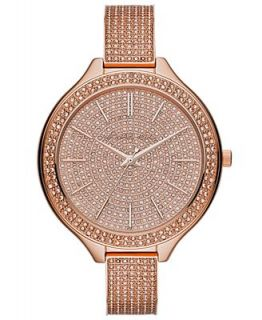 Michael Kors Womens Slim Runway Glitz Rose Gold Tone Stainless Steel Bracelet Watch 43mm MK3251   Watches   Jewelry & Watches