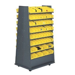 "Edsal PB320 Industrial Gray Heavy Duty Steel Pick Storage Rack with 112 Plastic Bins, 36"" Width x 112"" Height x 26"" Depth General Purpose Storage Racks"