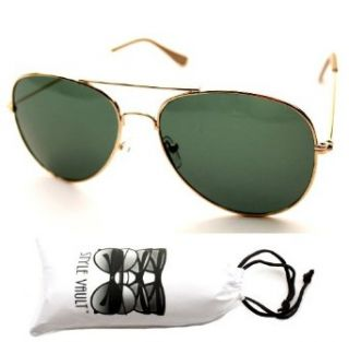 A112 vp Style Vault Generic Aviator Sunglasses Green Glass Lens (Gold, Uv400) Clothing