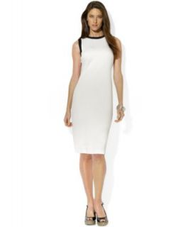 Lauren Ralph Lauren Sleeveless Leather Trim Dress   Dresses   Women