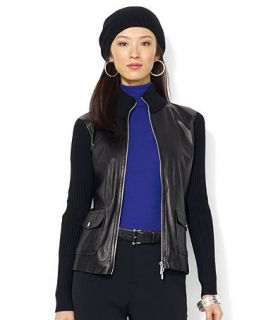 Lauren Ralph Lauren Petite Leather Front Mock Turtleneck Jacket   Jackets & Blazers   Women