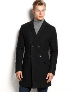 Calvin Klein Solid Double Breasted Slim Fit Coat   Coats & Jackets   Men