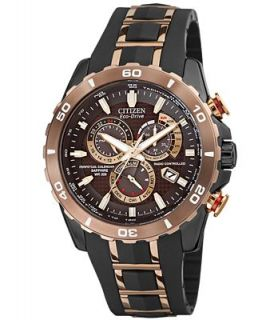 Citizen Mens Eco Drive Perpetual Chrono A T Rose Gold Tone Stainless Steel and Black Rubber Strap Watch 45mm AT4028 03X   Watches   Jewelry & Watches