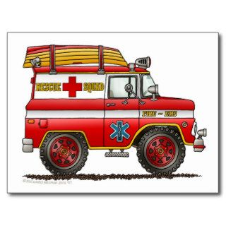 EMS Rescue Van Ambulance Fire Truck Post Cards