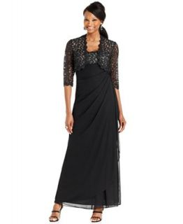 Xscape Sleeveless Metallic Lace Draped Gown and Jacket   Dresses   Women