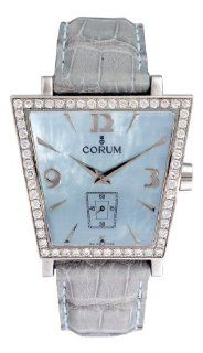 Corum Trapeze Mens Blue Strap Blue Mother of Pearl Dial Diamond Bezel Steel Watch 106.404.47/0010PM5 Corum Watches