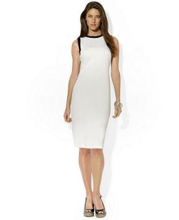 Lauren Ralph Lauren Petite Sleeveless Contrast Trim Dress   Dresses   Women