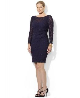 Lauren Ralph Lauren Plus Size Long Sleeve Sequin Lace Sheath Dress   Dresses   Plus Sizes