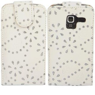 Diamante Flip Case Cover Skin For Samsung Galaxy Ace 2 i8160 / White Cell Phones & Accessories